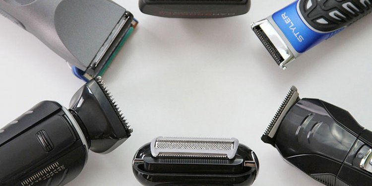 Close up of blades of electric shavers