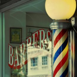 old school barber store and barber pole