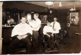 vintage barber shop males getting haircuts